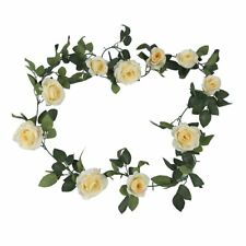 Vintage Artificial Fake Silk Flowers Rose Garland Plant Vine Home Garden Used