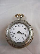 Damen Taschenuhr 800er Silber, innen Titania, Emaille Ziffernblatt, Eisenzeiger,