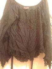 Ladies black frilly blouse