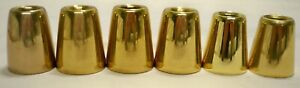 """6 POLISHED BRASS 1"""" CANDLE FOLLOWERS, BURNERS, TOPPERS - CHURCH NEW"""