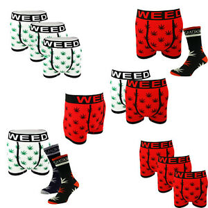 Weed Leaf Boxer Shorts S-XL Stay Smokin Ganja Leaf Socks Boxer Set- UK 6-11