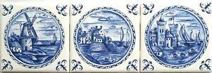 "Delft Design Ceramic Tiles Blue Set of 3 /4.25"" Wind Mill Blue Kiln Fired Castle"