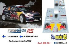 DECAL  1/43 -  FORD FIESTA R5  - SUNINEN  - Rally  MONTECARLO 2018