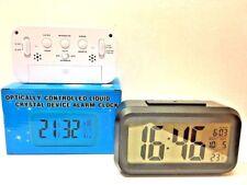 Large 14cm Optically Controlled Liquid Crystal Device Alarm Clock Temp Calendar White Clock