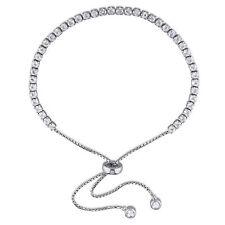 Amour Sterling Silver White Topaz Tassel Bolo Bracelet