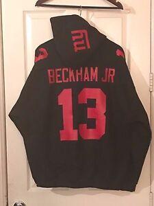 NY New York Giants Odell Beckham Jr. Jersey Hoodie Hoody Hooded Sweatshirt BLACK