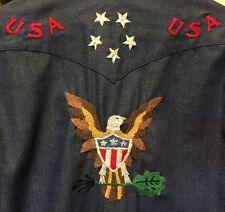 Vintage LEE Emboldened Western Pearl Snap Denim Jean Shirt. Size 16-34 Rare!