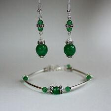 Green gems crystal vintage bracelet earrings wedding bridal silver jewellery set