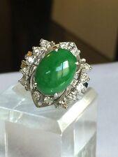 Estate 14k White Gold 1/2 Carat Diamond And Green Jade Ring