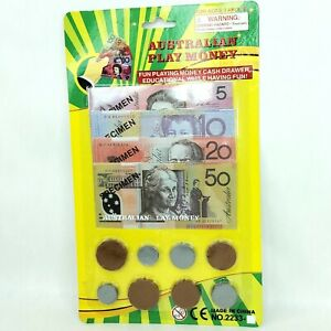 Play money toy Paper notes Plastic coins Australian Currency Dollar