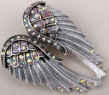 Silver AB Angel Wings Pin Brooch Pendant Crystal Rhinestone Fashion Womans ZD01