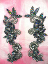 "Appliques Mirror Pair Set Sequin Beaded Gunmetal Holographic Silver 10"" (0183)"