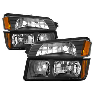 Chevy 02-06 Avalanche 1500 2500 Black Replacement Headlights + Bumper Lamps