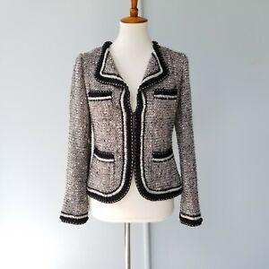 St. John Couture Sparkly Tweed Jacket Blazer Boucle Taupe Embellished Size 4