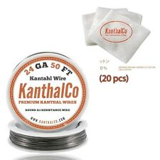 Organic Japanese Unbleached Cotton & 24 Gauge AWG A1 Kanthal Wire 50ft 0.51mm