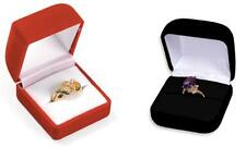 12 Jewelry Flock Velvet Ring Boxes Black Wholesale FQ3R