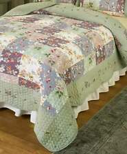 Full Queen Embroidered Quilt Floral Green Pink Purple Cream Bedroom Decor 1-Pc