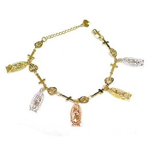 14k Gold Plated 3-Tone Guadalupe Dangling Charms with Heart Cross Bracelet