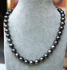 """9-10 mm Tahiti naturelle noir Collier de perles 22"""" avec clous d'oreilles or 14k"""