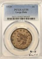 1820 Large Date Large Cent PCGS AU-55; N-11, Low C.C.