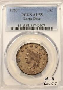 1820 Large Date Large Cent PCGS AU-55; N-11, Low C.C.