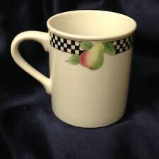 "SHAFFORD BISTRO MUG BLACK & WHITE CHECKERBOARD GRAPES PEAR 12 OZ JAPAN FRUIT 3"""