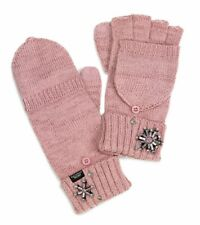 VICTORIA'S SECRET BLUSH PINK SNOWFLAKE SPARKLE KNIT CONVERTIBLE GLOVES MITTENS