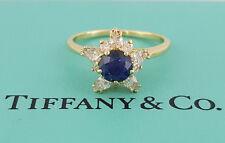 Tiffany & Co 18K Yellow Gold Vintage 1.32 ct Sapphire & Diamond Flower Ring