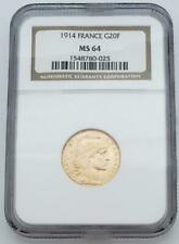 1914 French Gold 20 Franc Coin NGC MS64 .1867AGW L8453