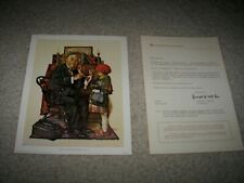 Vintage 1972 Norman Rockwell Lithograph Canvas Print The Doctor And The Doll