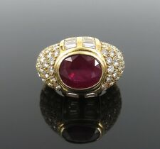 Vintage French 4ct Mogok Ruby & 3.40ct Diamond 18K Yellow Gold Cocktail Ring