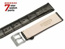 For SEIKO Watch BLACK Leather Strap Band Buckle Clasp Grand Diver 18-24mm