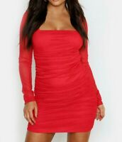 BOOHOO Red Square Neck Ruched Mesh Bodycon Dress  (fj189.1)