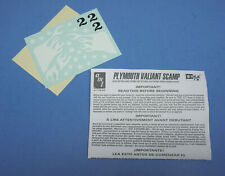 AMT 70's Plymouth Valiant Scamp, Decals & Instructions 1/25 Scale