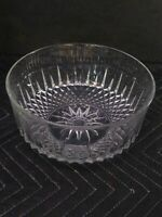 "VTG 60s Arcoroc France Clear Cut Crystal Glass 9"" Bowl Starburst Diamant Pattern"