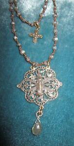 I Love this Filigree Mary Medal Necklace  Labradorite Bronze Cross Rosary Heals
