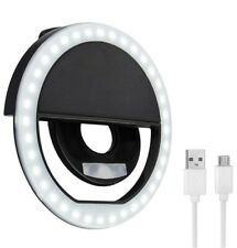 Selfie Ring Light Clip On USB Chargeable For iPhone/Samsung Lightning (Black)