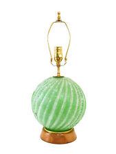 VTG Hollywood Regency Italian Green Glass Lamp Murano w/Label Mid-Century Modern