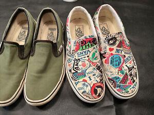 Vans Sticker slip on shoes men's size 8 women's size 9.5 With Bonus Custom Green