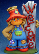 "Ceramic Bisque Welcome Scarecrow 18"" tall"
