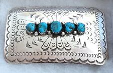 STERLING SILVER Navajo Native American DC THOMAS Turquoise Signed BELT BUCKLE