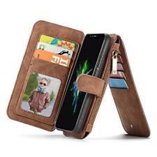 iPhone XR Wallet Case Leather Detachable Zipper Flip Folio Cover Card Slot Brown