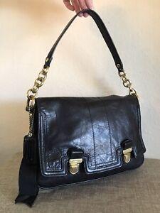 Coach Black Leather Chain Handbag Small Medium Shoulder Hobo Tote Bag