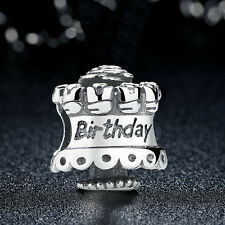 NEW 100% AUTHENTIC 925 STERLING SILVER HAPPY BIRTHDAY CAKE CHARM