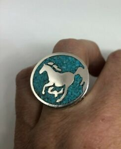 Vintage Southwestern Horse Mens Ring Turquoise Silver Bronze Size 11.5