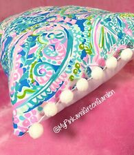 New throw pillow made with LILLY PULITZER Dream Team With WHITE Poms