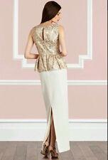 BNWT🌹Coast🌹Size 16 Novak Gold Neutral Maxi Dress (44 EU) Prom Gown Cruise