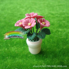 1:12 doll house pink miniature portable clay flower plant