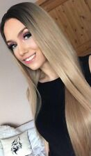 Dark Root Blonde Brownish Straight Ombré Hair Lace Front Wig. Human
