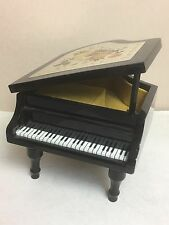 "Japan Black Lacquer Piano Musical Jewelry Box engraved gold Roses plays ""Memory"""